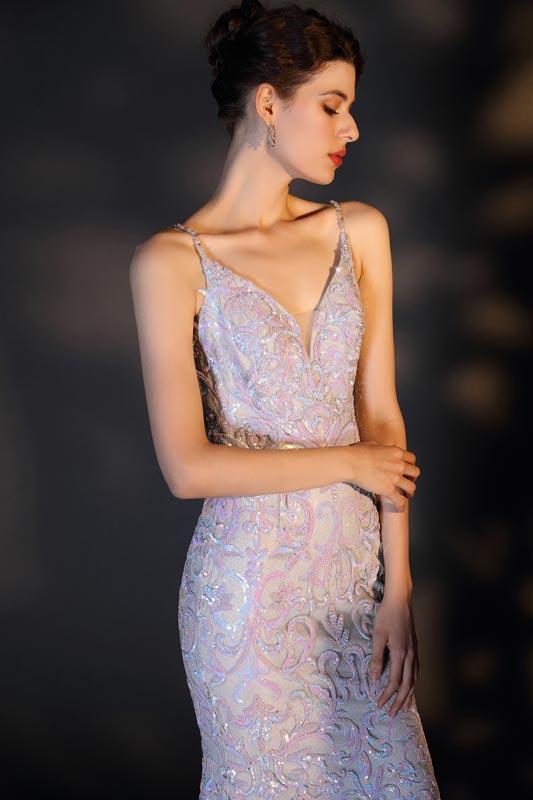 eDressit Sexy Spaghetti Straps V-Cut Sequins Party Prom Dress (00207226)