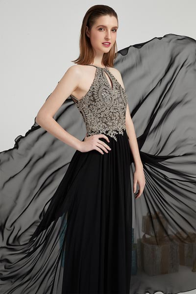 35%OFF Black Halter Beaded Party Prom Dress-eDressit (00202600)