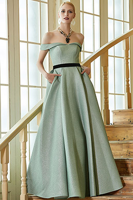 New Green Off Shoulder Elegant Party Ball Gown -eDressit (02201704)