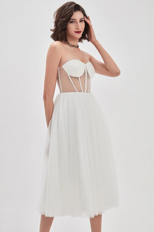 eDressit White Corset Polyester Bone Tulle Party Cocktail Dress (04210407)