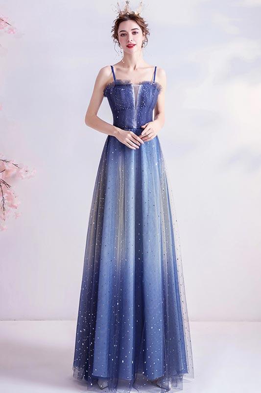eDressit Blue Spaghetti Straps Shiny Tulle Evening Prom Dress (36226805)