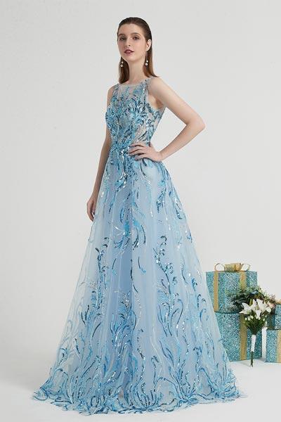 Robe de Soirée Longue à Paillettes Brillantes Bleues-eDress (00202605)