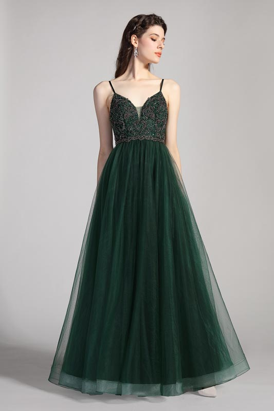 eDressit Spaghetti Straps V-Cut Beads Tulle Party Evening Dress (00208404)