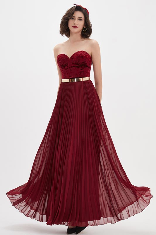 eDressit Burgundy Velvet Sweetheart Corset Gold Belt Party Ball Dress (00210517)
