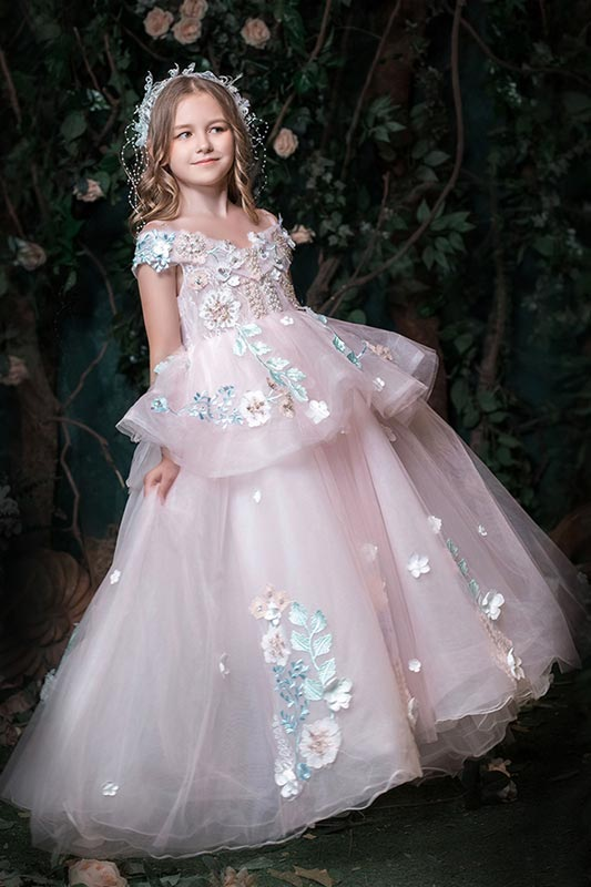 New Lace Appliques Off Shoulder Flower Girl Dresses (T27007)