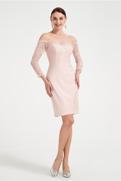 eDressit Pink Off Shoulder Long Sleeves Party Evening Dress (03200701)