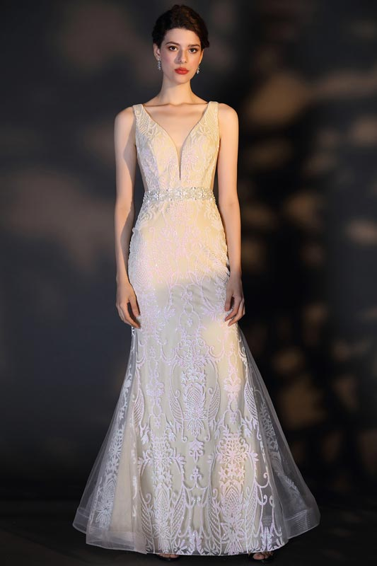 eDressit Classical V-Cut Beaded Lace Wedding Bridal Dress (01202407)