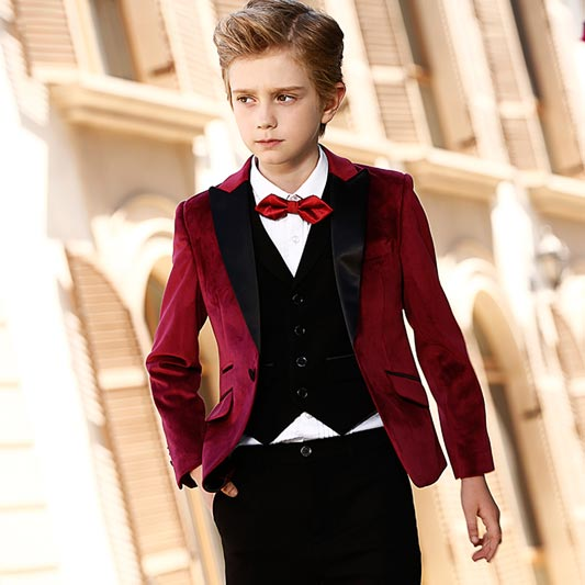 Boys Burgundy Suit 5 Pieces Solid Classic Fit Suits (T16017)