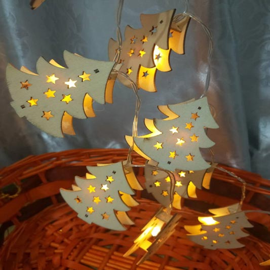 Wooden Christmas Tree decoration LED String Lights (TA0019)