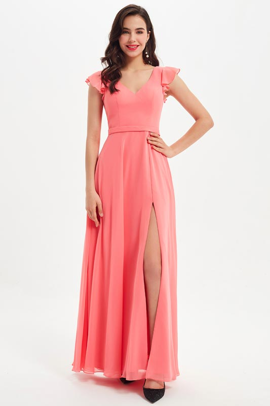 eDressit Coral V-Cut Ruffle High Slit Wedding Bridesmaid Dress (07212657)