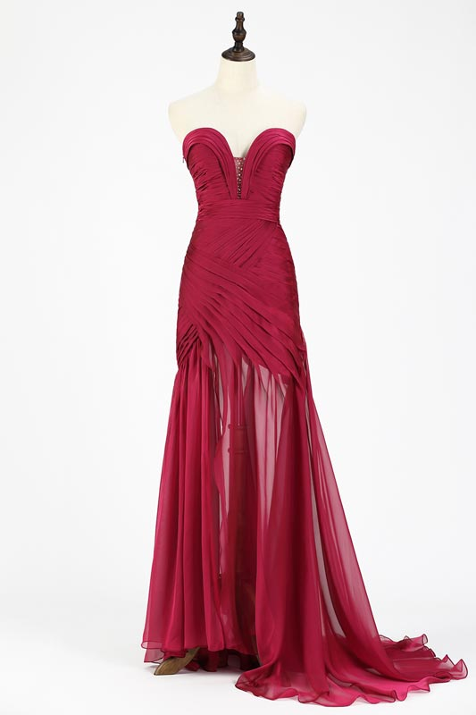 eDressit Burgundy Chiffon Ruched bodice Evening Dress (00120517)