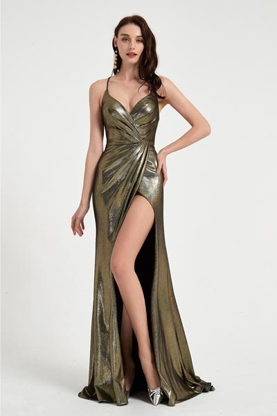 eDressit Gold Spaghetti V-Cut High Slit Shiny Party Ball Dress (00203024)