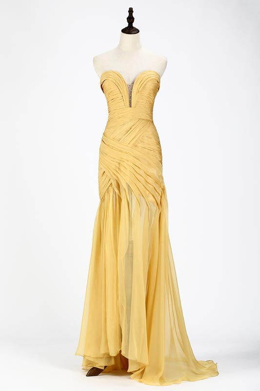 eDressit SexyYellow Chiffon Ruched Corset Evening Dress (00120503)