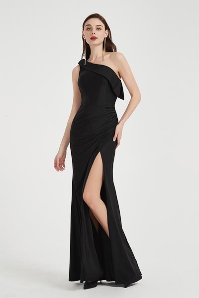 Sexy Black One Shoulder High Slit Party Evening Dress-eDressit (00202100)