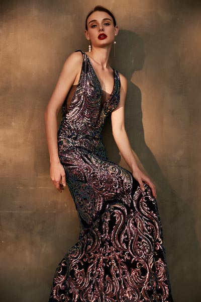 eDressit Sparkle Beaded Straps V-Cut Long Evening Party Dress (02203368)