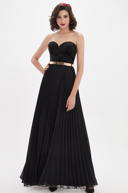 eDressit Black Sweetheart Velvet Corset Gold Belt Prom Party Dress (00210500)