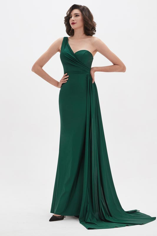 eDressit Green One Shoulder Pleated Bodice Party Evening Dress (00210604)