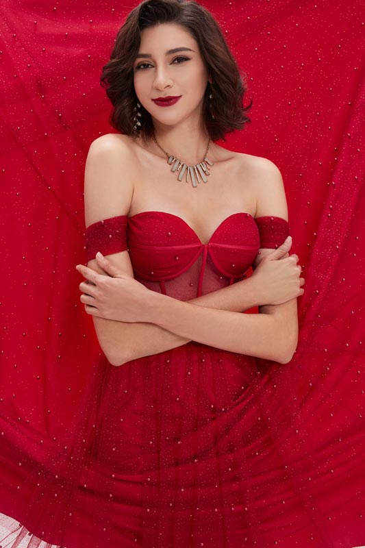 eDressit Red OFF Shoulder Polyester Boned Sheer Shiny Tulle Dress (00210102)