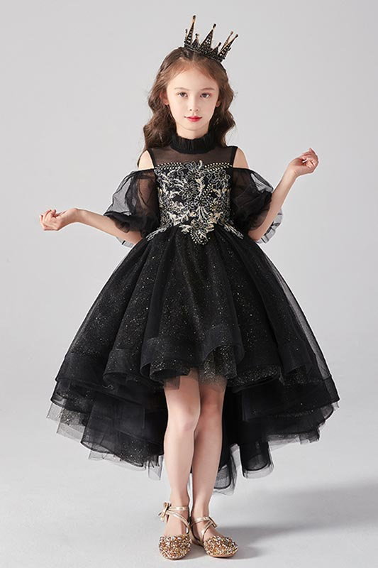 New Black High Collar Short Sleeves Flower Girl Dress (T27020)