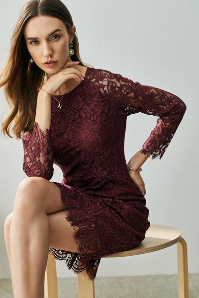 Dark Burgundy Round Neckline Long Sleeves Party/ Day Dress (T003117)