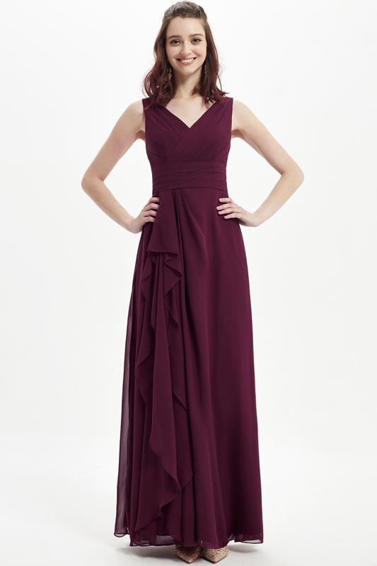 eDressit Burgundy V-Cut Ruffle Skirt Wedding Bridesmaid Dress (07217017)