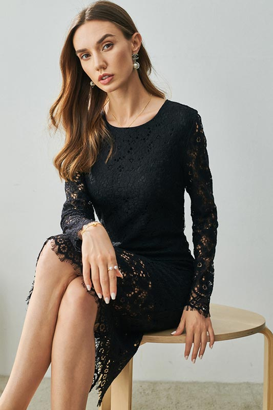 Black Round Neckline Delicate Lace Day/ Party Dress (T001400)