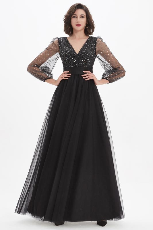 eDressit Sexy V-Cut Beads Long Sleeves Tulle Evening Party Dress (26210100)