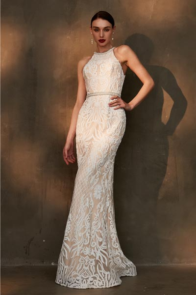eDressit Beige Halter Lace Applique Wedding Bridal Dress (01201207)