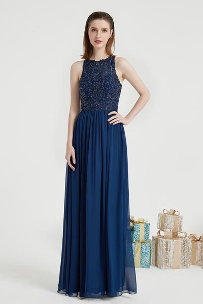 eDressit Navy Blue Embroidery Ball Prom Evening Dress (00203905)