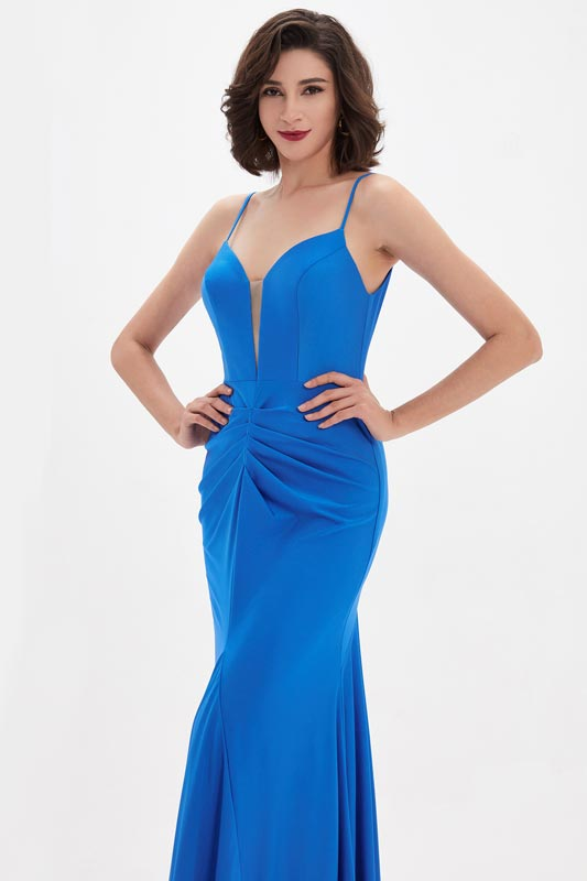 eDressit Blue Spaghetti V-Cut Mermaid Party Evening Dress (00211405)