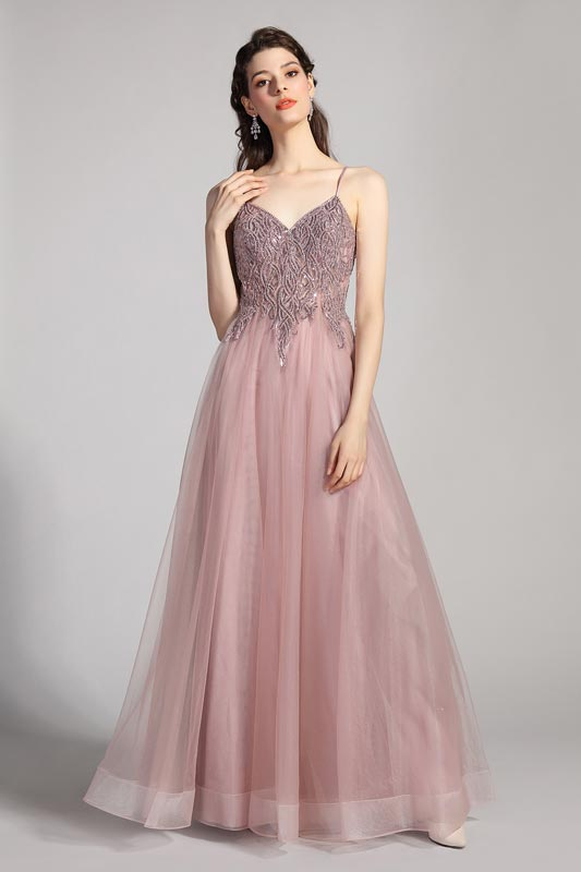 eDressit V-Cut Spaghetti Beaded Tulle long Evening Dress (00208946)