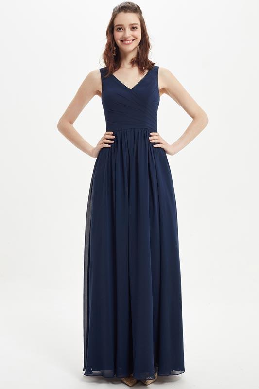 eDressit Blue  V-Cut Pleated Bodice Wedding Bridesmaid Dress (07217105)