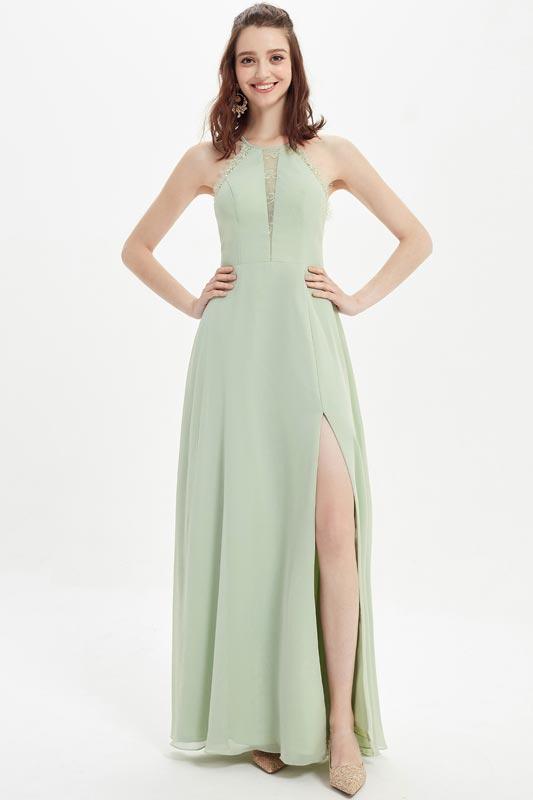 eDressit Green Halter Lace Decoration High Slit Bridesmaid Dress (07216404)