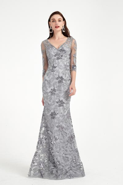 eDressit Grey V-Cut Half Sleeves Lace Applique Party Evening Dress (02202808)