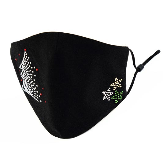 Christmas Washable Protective Black Mask with Beads (Mask024)
