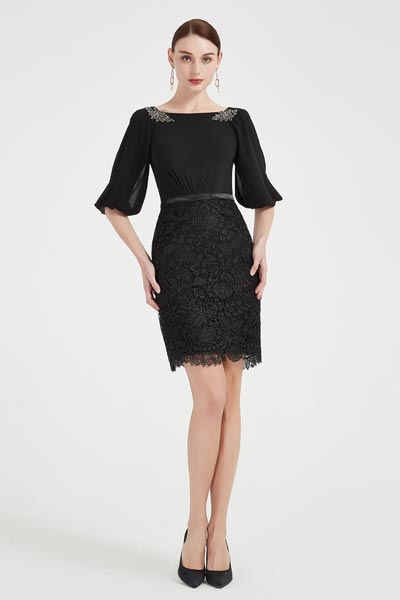 eDressit Sexy Black Velvet  Sleeves Lace Skirt Fashion Dress (26200300)