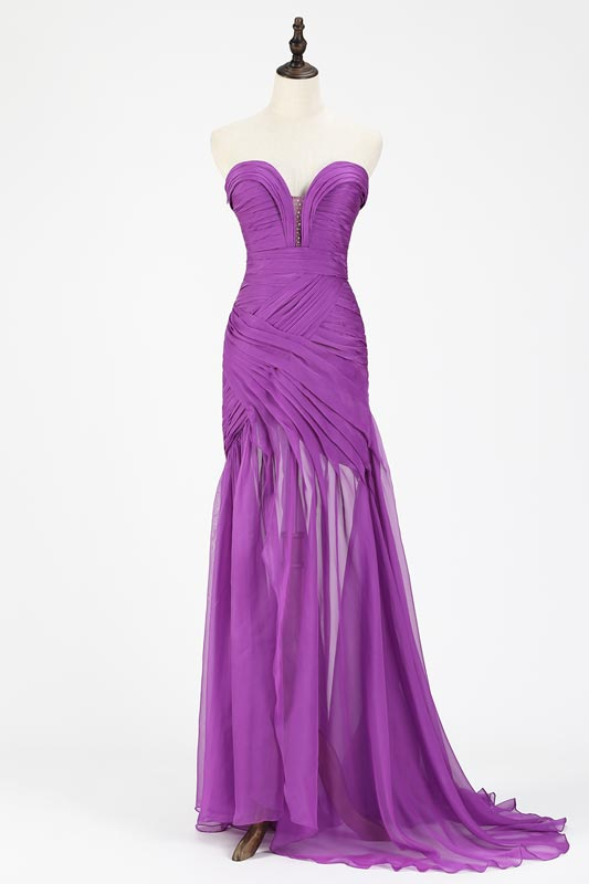 eDressit Purple Chiffon Ruched bodice Evening Dress (00120506)