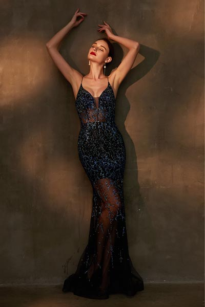 eDressit Blue Sparkle Beaded Halter V-Cut Evening Party Dress (00203305)