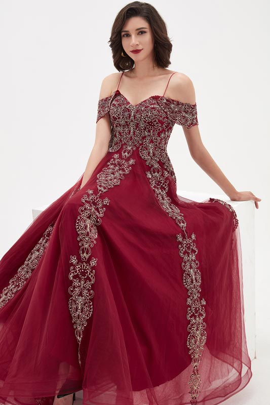 eDressit Burgundy OFF Shoulder Lace Tulle Long Party Prom Gown (02211017)