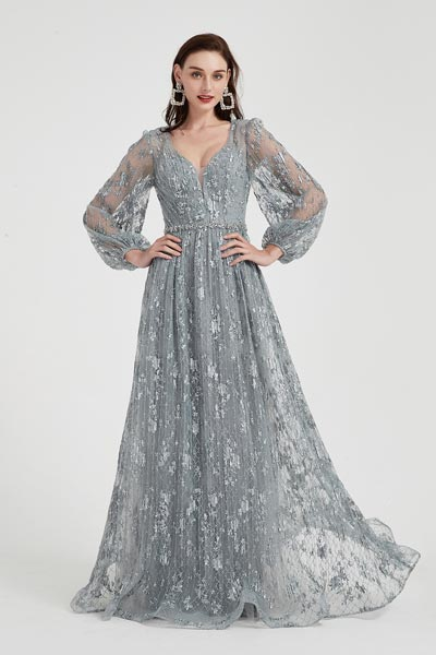 eDressit Sexy Grey Long Sleeves Lace Tulle Party  Evening Dress (02202108)