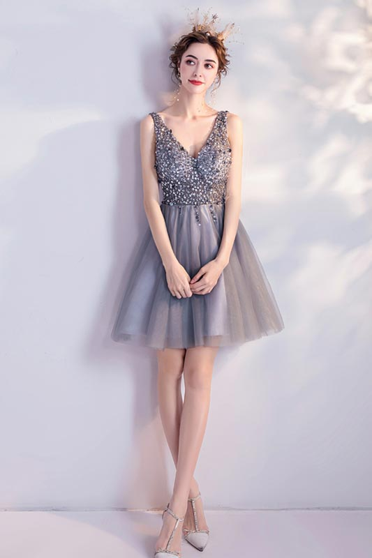 eDressit Grey V-Cut Sequins Tulle Party Cocktail Dress (35199008)