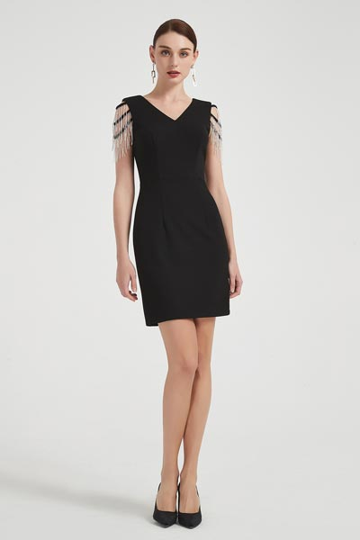 eDressit Lovely Black Tassel Shoulder Cocktail Party Dress (03200500)