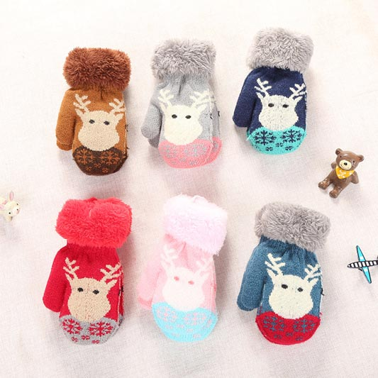 eDressit Winter Outdorr Knitted Kid's Glovers with Cute Elk (TE0001)