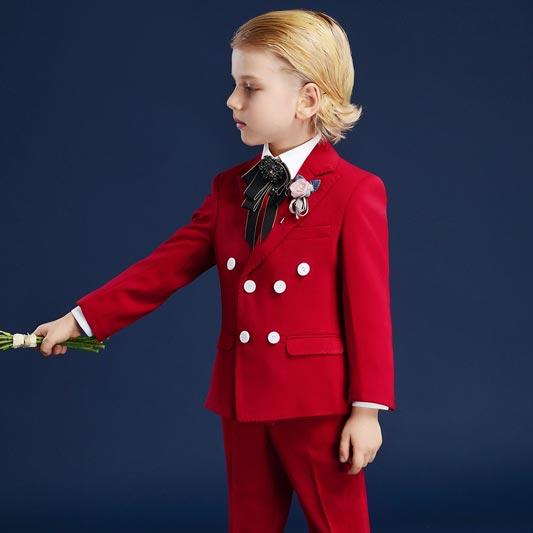 New Red 4-Piece 2-Button Notch Collar Suit Boy's Suit (T16007)