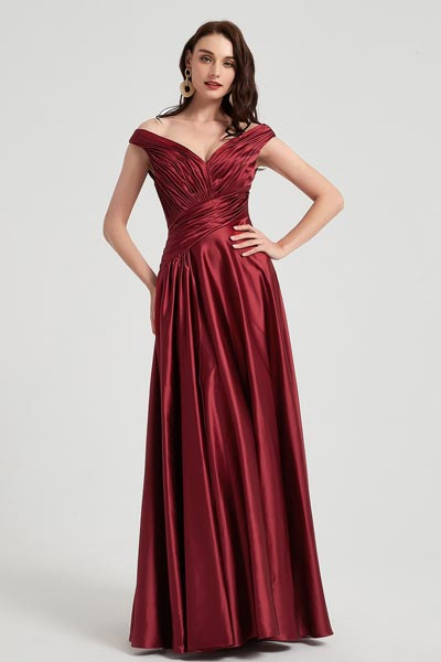 eDressit Sexy Burgundy V-Cut Neck Pleated Elegant Top Party Ball Dress (00200417)