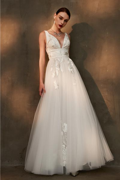 Sexy Deep V-Cut Lace Applique Tulle Wedding Party Dress-eDressit (01200207)