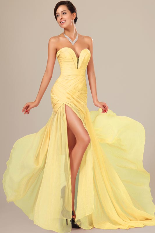 eDressit Best Selling Yellow Chiffon Ruched bodice Evening Dress (00120503)