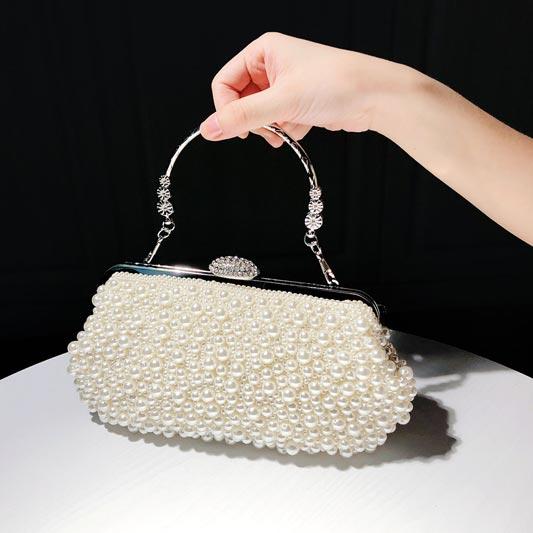 Beautiful Classic Vintage Pearl Clutch Bag Bridal Bag Wedding Bag (T08003)