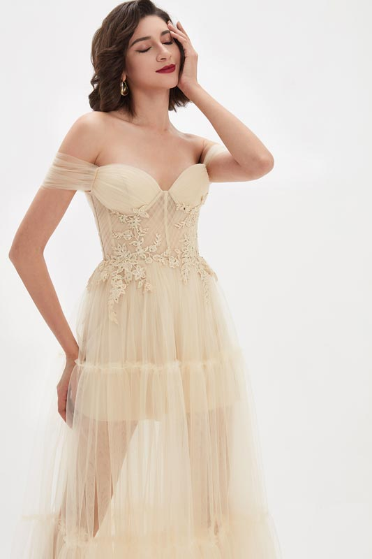 eDressit Beige OFF Shoulder Lace Tulle Long Evening Party Dress (02210114)