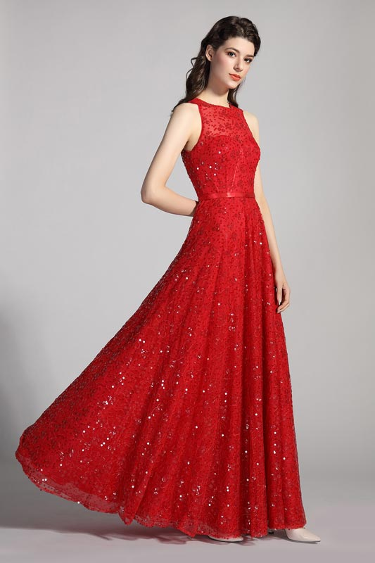 eDressit Red Round Neck Sequins Lace Ball Evening Dress (00205602)